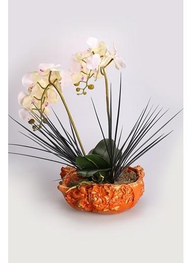 Kibrithane Çiçek Yapay Çiçek Dekoratif Saksı Beyaz Kumaş Orkide Kc00200821 Renkli